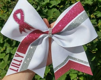 Breast Cancer Awareness Cheer Bow, pink cheer bow, pink out cheer  bow, softball hair bow softball bow, fight for a cure