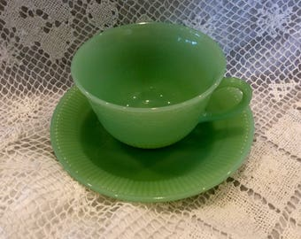 Fire King Jadeite cup and saucer