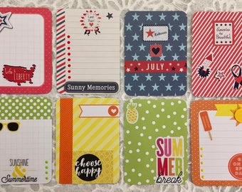 Set of 8 Embellished 3x4 Project Life Cards ~  4th of July and Summer Fun!