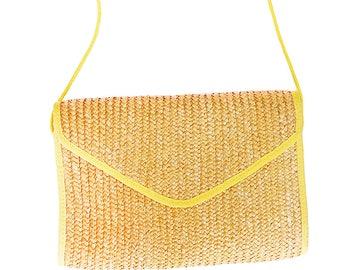 Natural  Straw Crossbody Bag| Vintage Straw Purse with Yellow piping | 80s Summer Purse | Straw Envelope Clutch