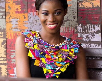 Abrefi V Cape, African Print Necklace, African Neckpiece, Ankara Necklace, African Fabric Necklace, For her