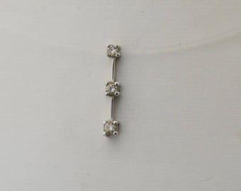 10k White Gold Estate Three/3/tri Diamond Drop Pendant