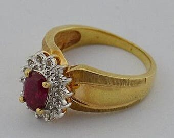 14k Yellow And White Gold Estate Ruby & Diamond Ring Size 6.25