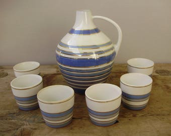 Lovely Vintage Russian Korosten porcelain STRIPED JUG W.CUPS,shot glasses, hand,painted,stamped