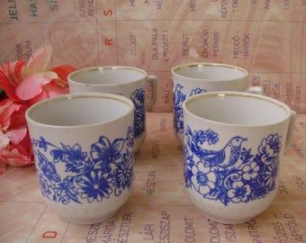 Vintage,USSR Soviet,Russian, porcelain tea mug set,4 pieces,bird and butterfly decor