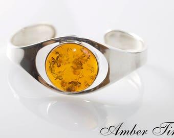 BB0206 Sterling Silver Ag 925 & Natural Baltic Amber Bracelet, Exclusive Amber Silver Bangle Bracelet