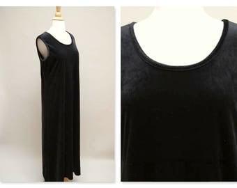 Vintage 90s Black Jumper Dress ⎮ 1990s Grunge Velour Long Dress ⎮ Black Maxi Sleeveless Velvet Dress