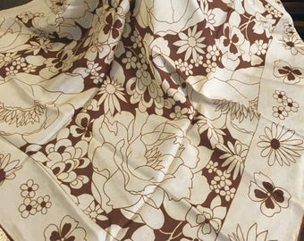 Beautiful Brown and Cream Floral Scarf