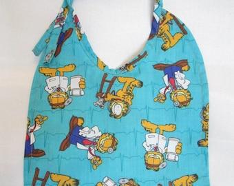Garfield Baby Bib. Doctor Garfield. Reversible. 100% Cotton. Reversible. Handmade.