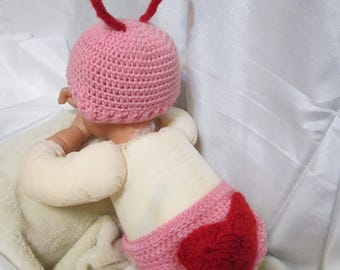 Valentine  Hat and Diaper Cover for your little one! Costume. Great photo prop!