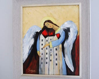 ANGEL ART oil Painting  signed- AngeI The House Guardian IV series