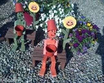 WOODEN FLOWERPOT man,woman, with sunflower on bench,garden ornament,gift,flowerpot men,