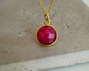 Ruby necklace, July birthstone necklace, gemstone necklace, gold fill necklace, gift for her, So You Jewellery