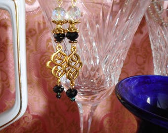 VINTAGE STYLE EARRINGS Black Crystal Drop Filigree Spiral Nouveau Gold