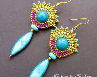 Sea Turquoise Earrings with Jade, Mother of Pearl and Howlite