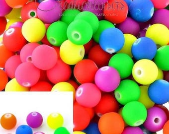 100 round smooth multicolor neon beads - Diam. 6 mm