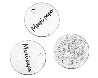 """5 charms round antique silver engraved words """"thank you Dad"""" 20mm"""