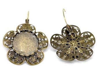 2 Supports Bronze cabochon earring