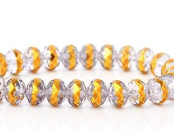 20 clear, 8mm faceted round shaped glass beads