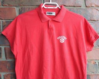 Vintage Puma Sport Polo 1990s Puma Polo Shirt Red
