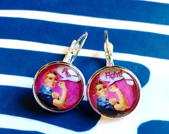 Handmade Rosie the Riveter Fight cabochon earrings- 16mm