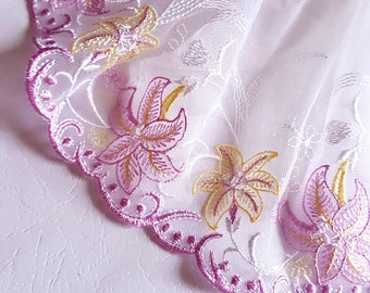 PRETTY lace embroidery on tulle, white and pink wide x1m 19.5 cm
