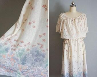 1970s Flutter By sheer dress | vintage 70s floral dress | spring dress pastel sundress medium