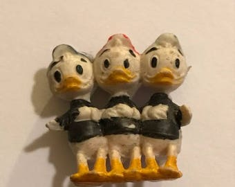 Vintage Politoys Paperino No. 554 Donald Duck Huey Duey Louie figures