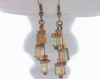 Antique gold drop earrings; Cube earrings; Glass bead earrings; Orange earrings; Green earrings; Drop earrings