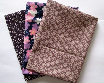 Set of 3 coupons 45 x 35 cm Japanese fabric - purple sakura cherry blossoms