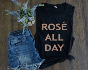 Rosé All Day - Women's Scoop Neck Muscle Tee