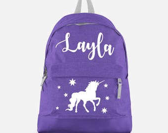 Personalised Unicorn Backpack with ANY NAME- Kids Children Teenagers School Student rucksack - Back To School Bag Backpack -CBPU