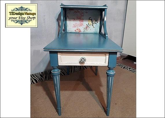 Mesa auxiliar azul, Mesa rinconera azul, Mesa auxiliar madera, Mesa auxiliar azul, Mesita noche con cajón, Mesita noche azul,Mesita auxiliar