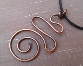 Copper pendant, pendant, necklace copper spiral, antiqued copper, copper jewelry, anniversary, 7 year gift