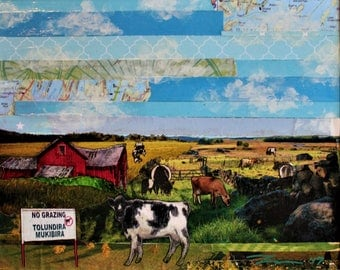 Original Cows Collage Art - Rebel Cows next to 'No Grazing' Sign - Handmade Artwork - Framed Art - Unique and Interesting Art for Kids Room