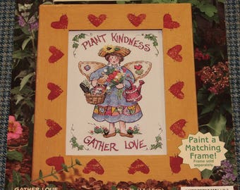 1995 - Embroidery ~ Plant Kindness Gather Love ~ Barbara's Garden ~ Printed Fabric ~ Needle ~ Easy Instructions ~ Framing Instructions