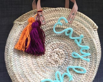Bag / personalized round beach basket