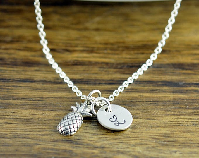 Personalized Necklace, Initial Pineapple Necklace, Sterling Silver Pineapple Necklace, Pineapple Necklace, Pineapple Charm Necklace