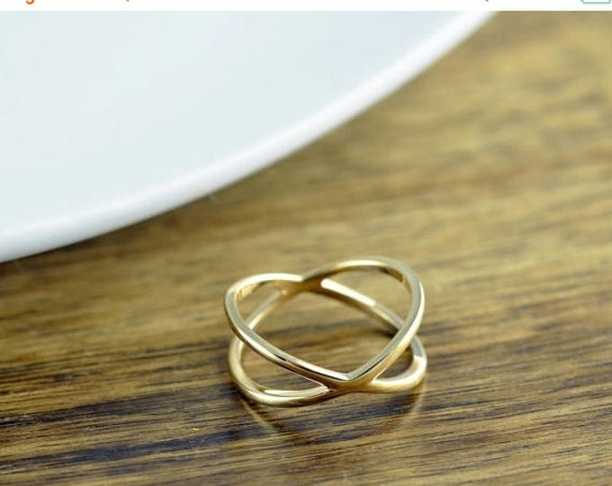 10% off SALE Criss Cross Ring - X Ring - Gold X Ring - X Cross Ring - Gift for Her - Minimalist Jewelry - Minimalist Ring - Daughter Gift