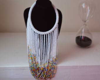 African Maasai Beaded Necklace | African Jewelry | Tribal Necklace | Chunky | White  Necklace | One size fits all | Gift for Her