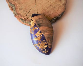 Wood Resin Pendant, Made in Italy, Handmade Necklace, B.Colors n.8, Unique piece, Wood resin jewelry, Handmade Jewelry