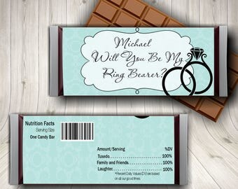 Ring Bearer Candy Bar Wrappers, Will You Be My Ringer Bearer, Wedding Candy Bar Wrappers,  Wedding Printable, Custom Candy Bar Wrappers