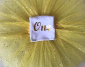 Baby girl full birthday outfit tutu any age glitter one 1st two 2 princess yellow top tshirt vest cake smash sparkle