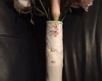 Multicolored Embroidered White Handkerchief Linen for Bridal Bouquet Wrap