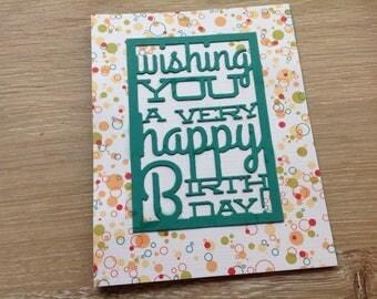 Confetti birthday card, teal
