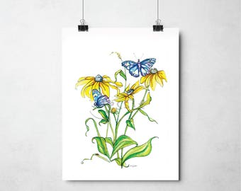 Original Print: Black eyed susan and butterflies