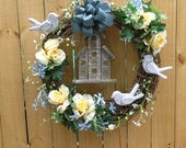 Spring Wreath - Summer Wreath - Yellow and Blue - Grapevine Wreath - Birdhouse - White Birds - Blue Bow - Flowers - Wooden Birds