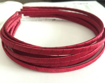 10pieces red satin metal hair headband covered 5mm wide