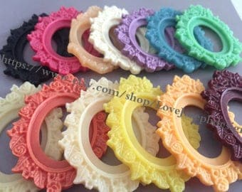13 Pieces /Lot mixed colors(13colors) 30mmx40mm oval esin frame Flatback resin cabochon bezel trays charms (#0217)
