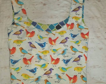 Bright Birds Market Bag with Pockets